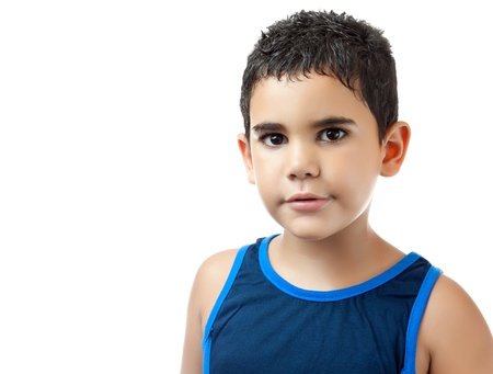 hispanic children: Portrait of a small hispanic boy isolated on a white background Stock Photo