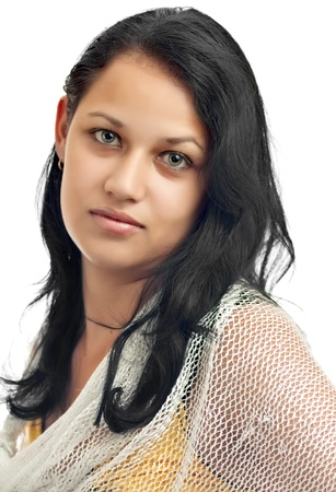 arab people: Portrait of a young latin  girl with beautiful green eyes isolated on a white background