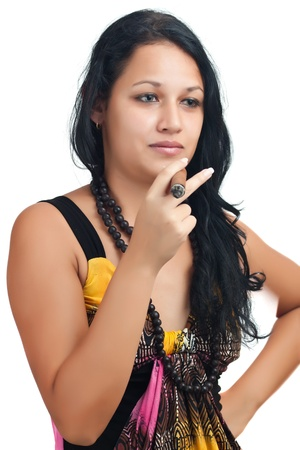 cigar smoking woman: Young latin woman smoking a cuban cigar isolated on a white background Stock Photo