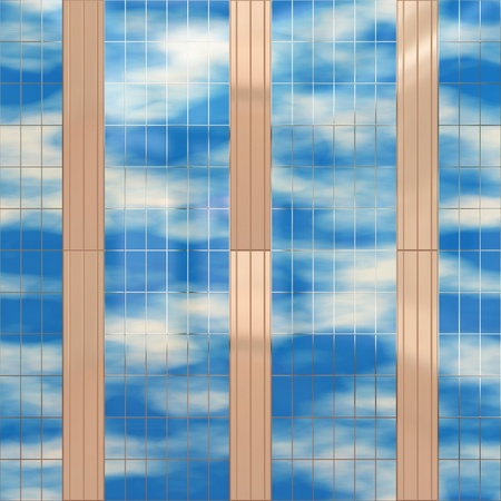 Seamless texture resembling skyscrapers windows with reflections of a cloudy sky  photo