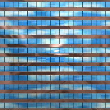 Perfecta textura se asemeja ventanas rascacielos con reflejos de un cielo nublado Foto de archivo
