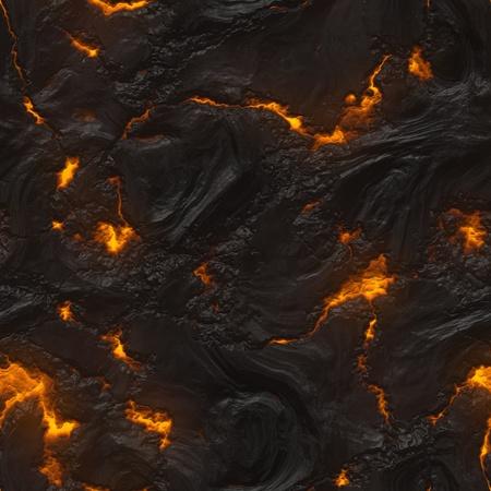 Magma sans soudure ou texture de lave avec un matériau en fusion coulant entre les roches chaudes