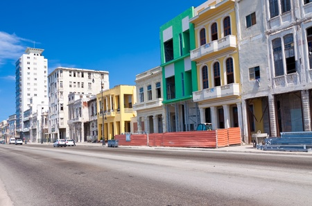 Urban view of Havana with colorful buildings along the Malecon photo