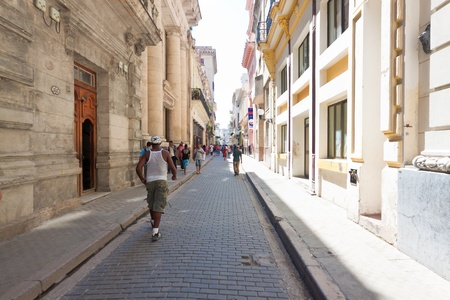 People in the famous Obispo boulevard  in Old Havana Stock Photo - 11109406