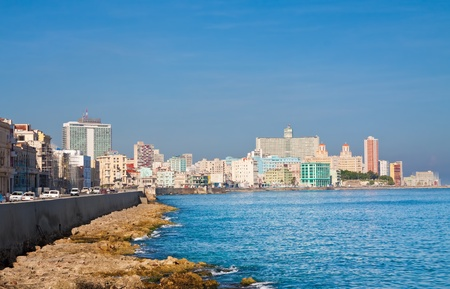 havana: The skyline of Havana and the caribbean sea Stock Photo
