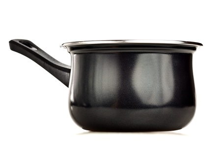 steel pan: Olla negro aislado en blanco Foto de archivo