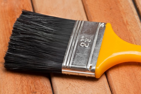 textura pelo: Pintar pincel sobre tablas de madera