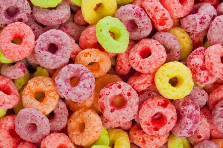 carbs: Colorful childrens cereal  background Stock Photo