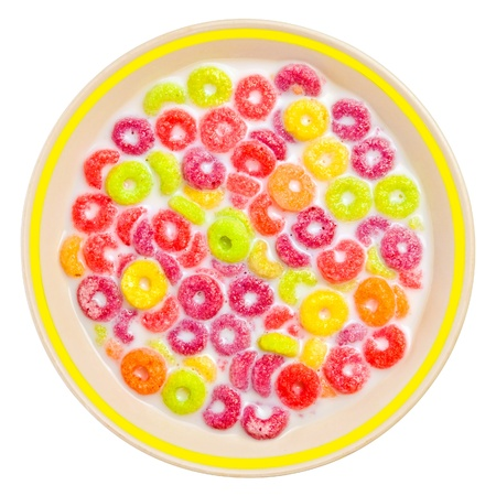 Colorful children's cereal in a bowl with milk photo