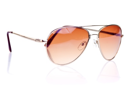 accesories: Modern brown tinted sunglasses on a white background