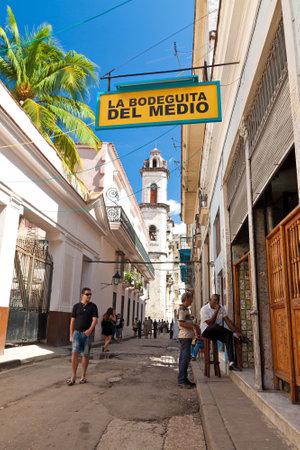 HAVANA-OCTOBER 20:La Bodeguita del Medio October 20,2011 in Havana.Since its opening in 1942,this famous restaurant has been a favourite of Ernest Hemingway and Pablo Neruda among other personalities Stock Photo - 11543125