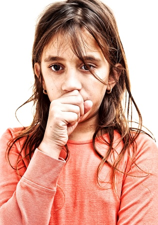 coughing: Small girl coughing isolated on a white background