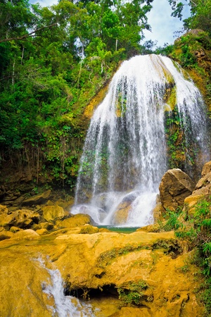 natural landmark: Waterfall in Soroa, a famous cuban natural landmark