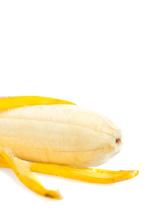 peeled banana: Ripe peeled banana isolated on white with space for text Stock Photo