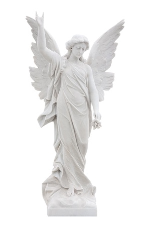 angel girl: Beautiful marble angel isolated on white