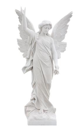 angel de la guarda: Ángel de mármol hermoso aislado en blanco