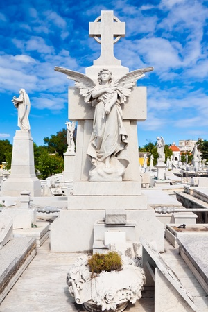 christianism: Beautiful religious monuments in the Colon cemetery in Havana