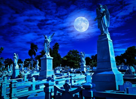 Cemetery at night with a bright full moon photo