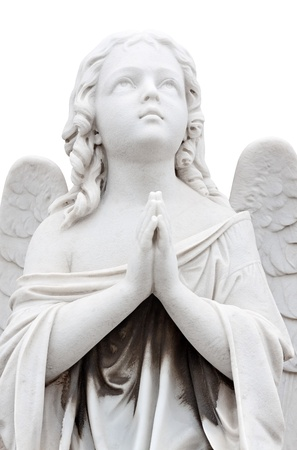 Statue of a beautiful  child angel praying isolated on white Stock Photo - 11874776