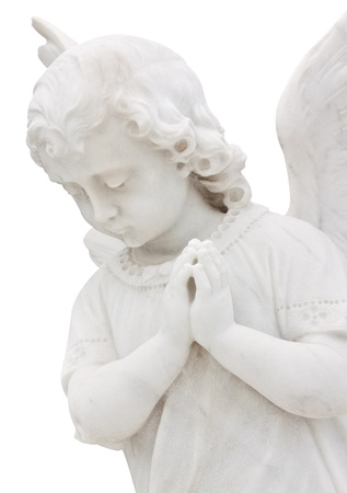 funeral background: Beautiful child angel praying isolated on white