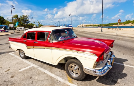HAVANA-DECEMBER 14 3:Classic Ford December 14,2011 in Havana.Before a new law issued on October 1,cubans could only trade old classic cars that were on the road before the revolution of 1959
