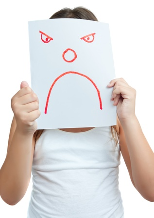 anger kid: Child with a paper mask with an angry face isolated on white