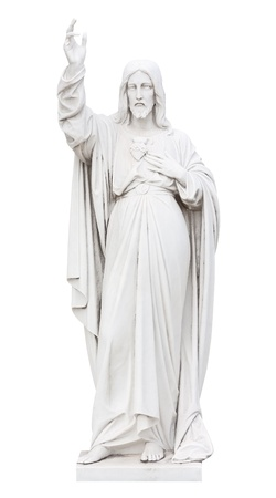 blessing: Marble statue of Jesus  isolated on white
