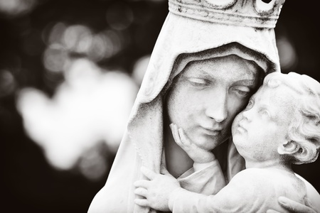 mary and jesus: Monochromatic image of the Virgin Mary carrying the baby Jesus