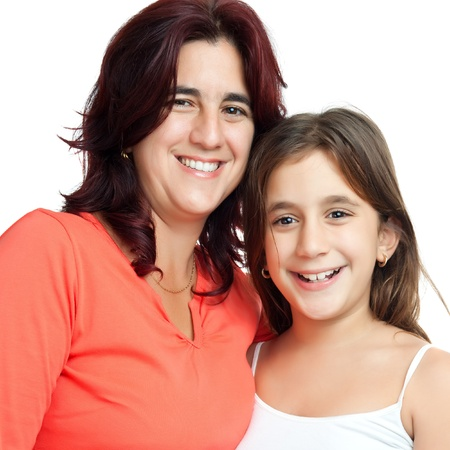 Close up portrait of an hispanic omther and her beautiful small daughter isolated on white Stock Photo - 11874716