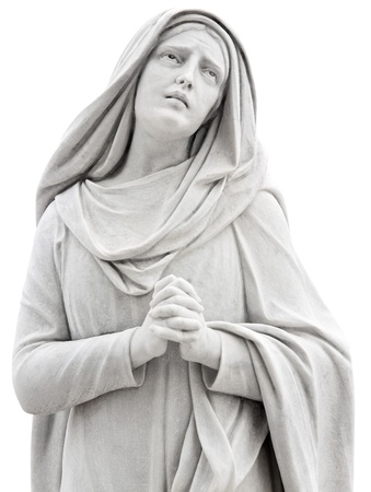 virgin: Beautiful statue of a religious woman praying isolated on white