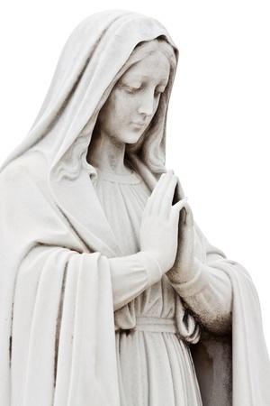 vierge marie: Sculpture en marbre d'une femme triste priant isolé sur blanc