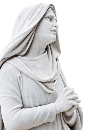 mujer rezando: Escultura de mármol de una mujer triste rezando aislado en blanco Foto de archivo