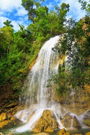 soroa: Waterfall in Soroa, a famous cuban touristic landmark Stock Photo