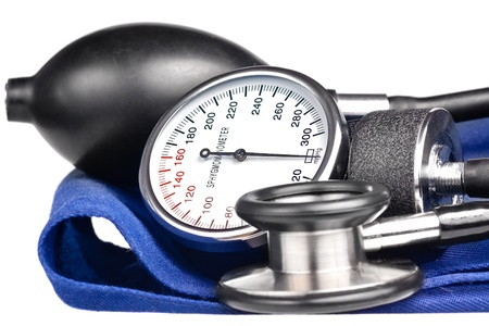 sphygmomanometer: Sphygmomanometer and stethoscope kit used to measure blood pressure isolated on white