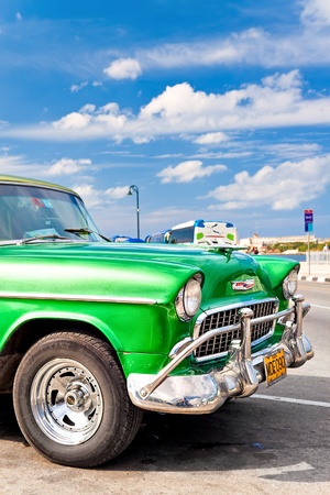 old fashioned car: Old classic american 1955 Chevrolet in Havana