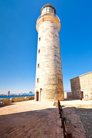 The lightouse in the castle of El Morro,an iconic landmark of Havana