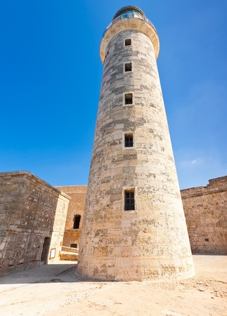 Tower of the famous castle and lighthouse of El Morro,a symbol of Havana