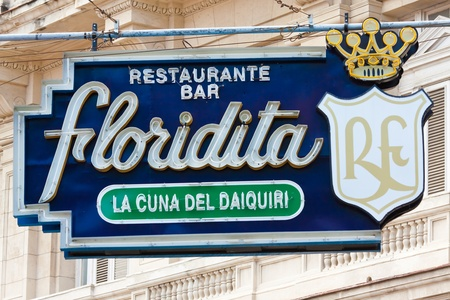 HAVANA-JANUARY 15:The historic Floridita restaurant January 15,2012 in Havana.The birthplace of daiquiri,a famous cuban cocktail,El Floridita was a favorite of celebrities like Ernest Hemingway Stock Photo - 12159680