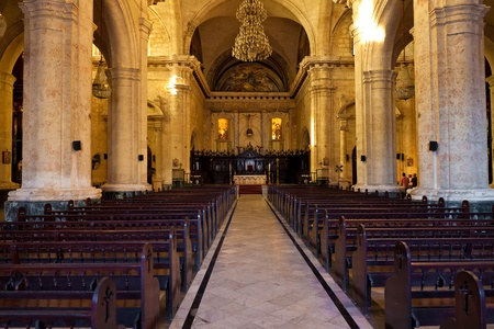 Interior of the Cathedral of Havana, a religious landmark and touristic destination in Cuba