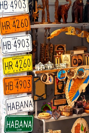 license plate: Traditional handcrafted merchandise for sale in Old Havana