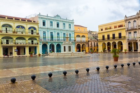 Raining in La Plaza Vieja, a touristic landmark in Old Havana