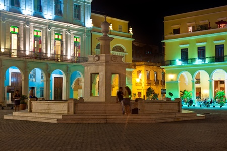 known: La Plaza Vieja or Old Square , a well known touristisc landmark in Old Havana illuminated at night