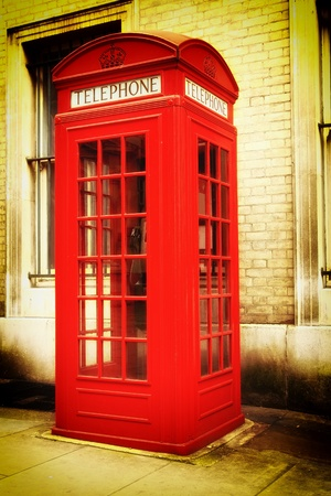 Vintage image of a typical red London phone booth Stock Photo - 12450870