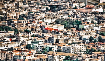 Grunge aerial view of Havana with lots of old buildings photo