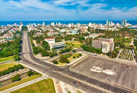 american revolution: Beautiful view of Havana on a a sunny day with the Revolution Square in the foreground
