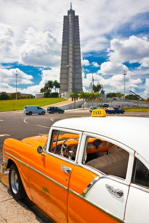 Classic Chevrolet parked in the Revolution Square  in Havana