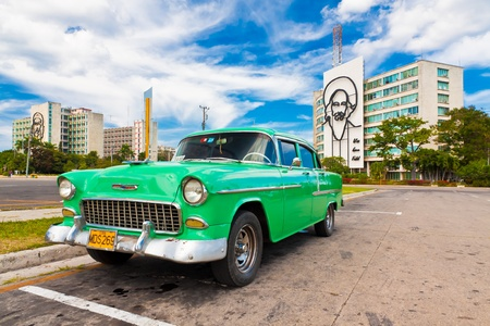 habana: Classic Chevrolet parked in the Revolution Square  in Havana