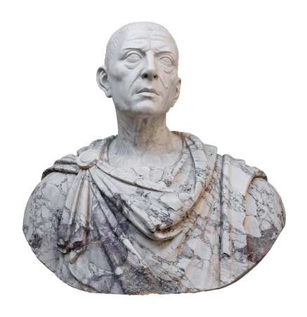 Ancient mable statue of the roman emperor Julius Caesar isolated on a white background with clipping path photo