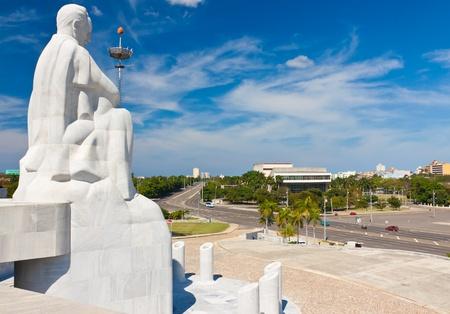 national hero: Statue of Jose Marti, the cuban national hero, overlooking the Revolution Square in Havana Stock Photo