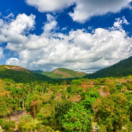 The mountains of Pinar del Rio in Cuba, a natural touristic attraction and a worlwide known tobacco growing area photo